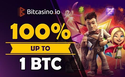 BitCasino.io welcome bonus 100% up to 1 BTC