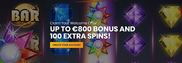 Casiplay Casino welcome bonus - 800 EUR and 100 free spins