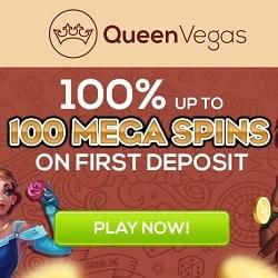 Queen Vegas Casino 100% bonus + 100 Mega Free Spins