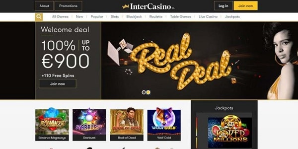 Inter Casino welcome bonus, free spins, no deposit required