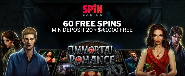 60 exclusive free spins on Immortal Romance slot by Microgaming