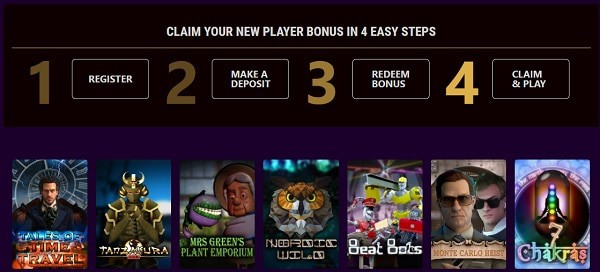 Register, login, claim bonus and play games