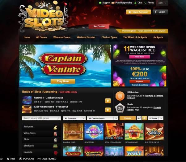 Videoslots.com main page