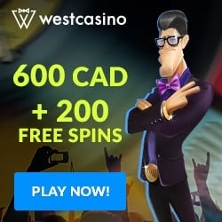 West Casino 200 free spins and €600 welcome bonus