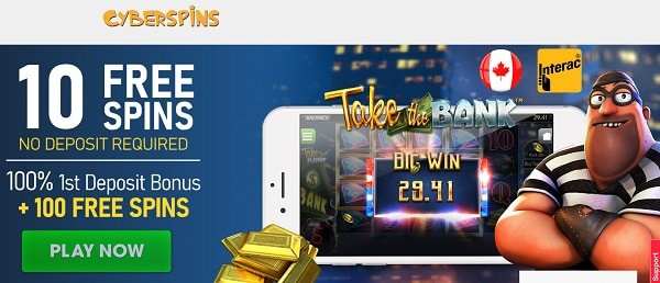 10 free spins on Take the Bank slot (no deposit required)