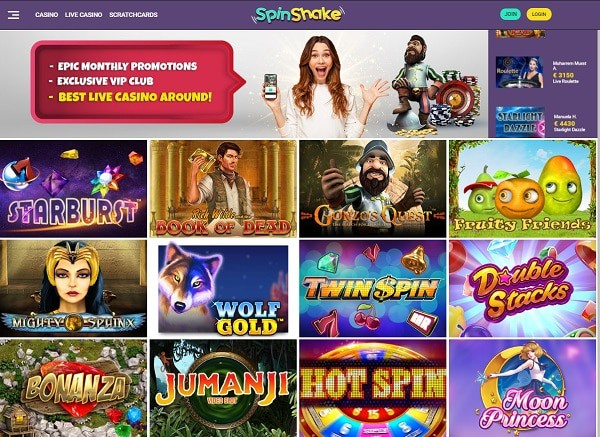 Spin Shake Casino Review - free spins, no deposit bonus, promotions