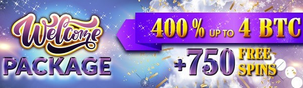 750 free spins and 400% up to 4 Bitcoin welcome bonus