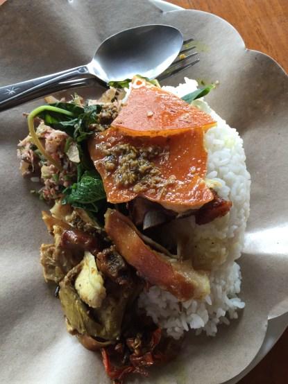 Warung Ibu Suna's Babi Guling with traditional accompaniments