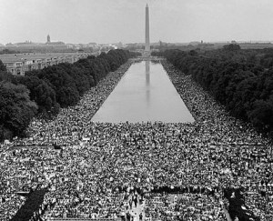August 1963, View of crowd listening to Martin Luther King Jr.