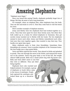 Character Building Lesson: Amazing Elephants
