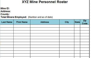 Employee Roster Template Excel sheet