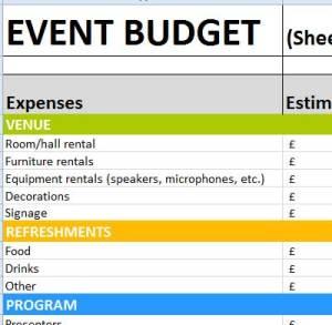 event worksheet