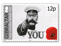 Gibraltar stamps Centenary of World War I - 12p stamp
