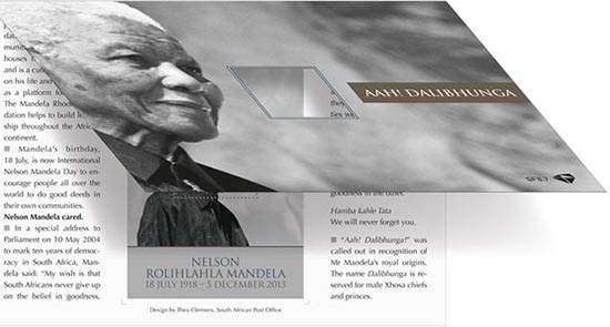Nelson Mandela Stamp issued by South Africa in 2014 presentation pack