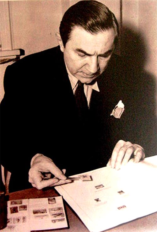 Bela Lugosi collecting stamps