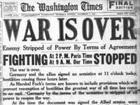 War is over newspaper heading Washington Times