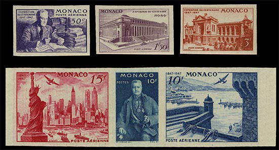 Stamps Monaco with president with 6 fingers