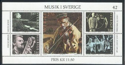 Music on Swedish postage stamps