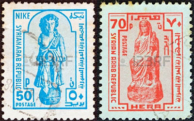 stamps depicting an ancient statue of the Greek goddess Nike