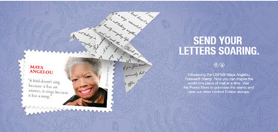 Maya Angelou stamp with the wrong quote