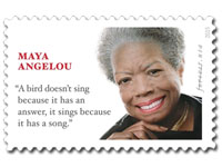 Maya Angelou stamp with wrong quote