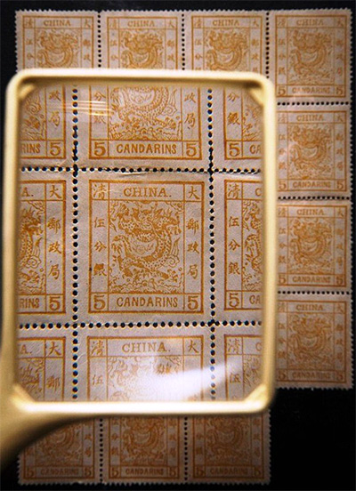 A close up of the stamps