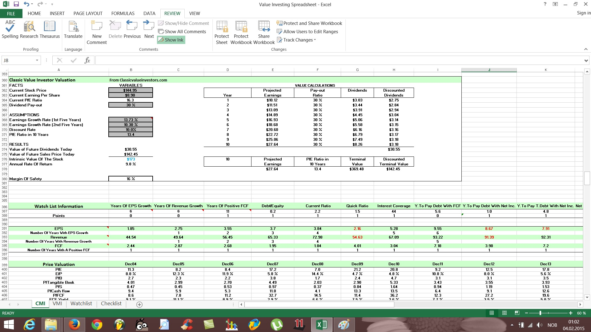 Free Value Investing Excel Stock Spreadsheet