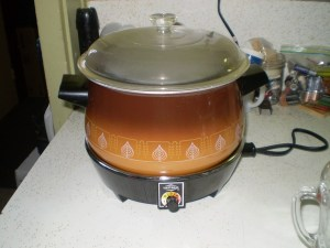 crockpot steaming a pudding