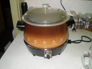 crockpot steaming a pudding