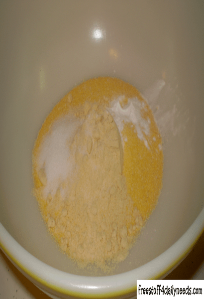 dry ingredients for cornmeal pancakes in bowl