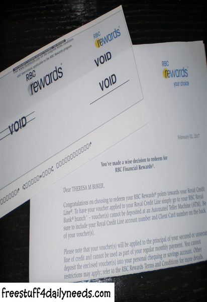 rbc rewards card letter and voucher - Free Stuff 4 Daily Needs
