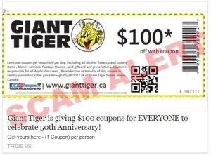 SCAM ALERT: Giant Tiger is NOT Giving Away $100 Vouchers!