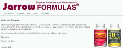 Jarrow Formulas Superior Nutrition and Formulation Free Dietary Supplement Sample - US