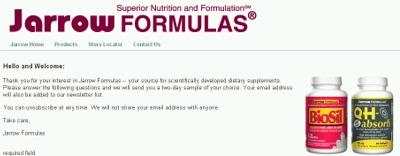 Jarrow Formulas Superior Nutrition and Formulation Free Dietary Supplement Sample - US