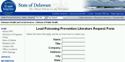 State of Delaware Free Lead Poisoning Prevention Literature - US