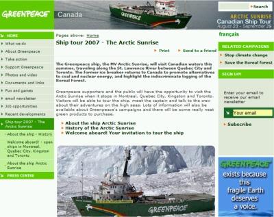 Greenpeace Open Ship Free Ship Tour - Exp Sep 22, 07, Kingston & Montreal, Canada