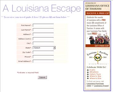 A Louisiana Escape Free Travel Guide and CD - Canada and US