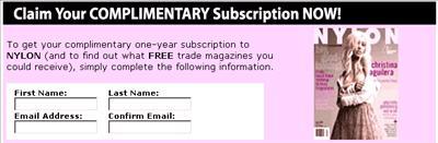 FreeBizMag.com Free 1-Year Subscription to NYLON Magazine - US