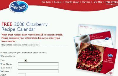 Ocean Spray Free 2008 Cranberry Recipe Calendar with $5 Coupons - Canada