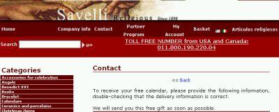 Savelli Religious Free Calendar - Religious, Canada and US
