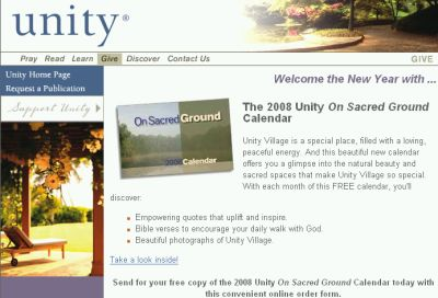 "UnityOnline.org Free ""The 2008 Unity On Sacred Ground Calendar"" - Religious, Canada and US"