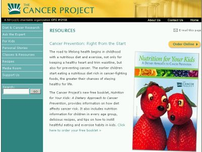 "The Cancer Project Free ""Nutrition for Your Kids: A Dietary Approach to Cancer Prevention"" Booklet - Canada and US"