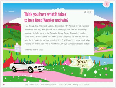 PinkRoadWarrior.ca Canadian Breast Cancer Foundation Win Ford Mustang Convertible, iPod nano and More - Exp. Nov. 30, 2008, Canada