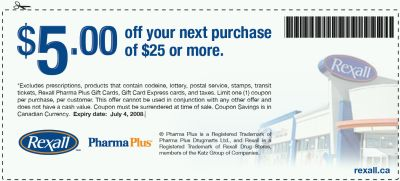 Rexall Pharmacy Save $5 off $25 Printable Coupon - Exp. Jul. 4, 08, Canada