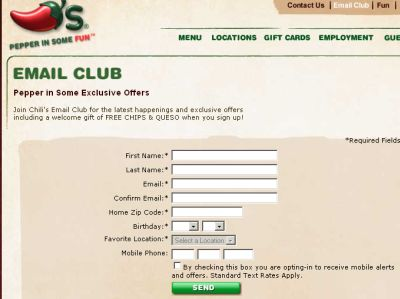 Chili's Email Club Free Chips and Queso Welcome Gift for Newsletter Signup - US