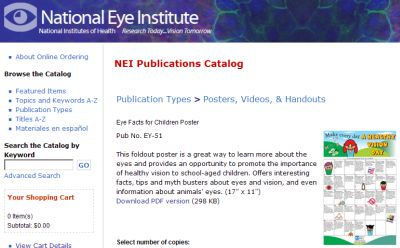 National Eye Institute Free Eye Facts for Children Poster - US