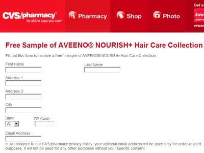 CVS Pharmacy Free Sample of Aveeno Nourish + Hair Care Collection - US