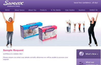 Sweax Underarm Liners Free Sample - Australia and Canada