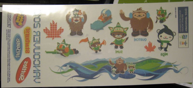 Freebies Received: Wrigley's Vancouver 2010 Winter Games Stickers