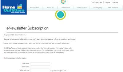 HBC 5000 Free HBC Reward Points When You Sign Up eNewsletters - Canada
